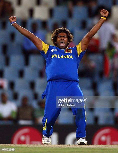 Lasith Malinga of Sri Lanka celebrates the dismissal of A B De Villiers of South Africa during The ICC Champions Trophy Group B match between South...