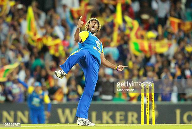 Lasith Malinga of Sri Lanka celebrates the final wicket during the Commonwealth Bank Series match between Australia and Sri Lanka at Sydney Cricket...