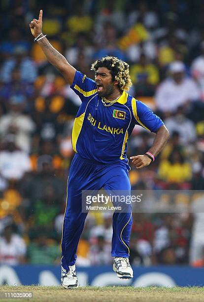 Lasith Malinga of Sri Lanka celebrates the wicket of Nathan McCullum of New Zealand after he was caught by Kumar Sangakkara during the 2011 ICC World...