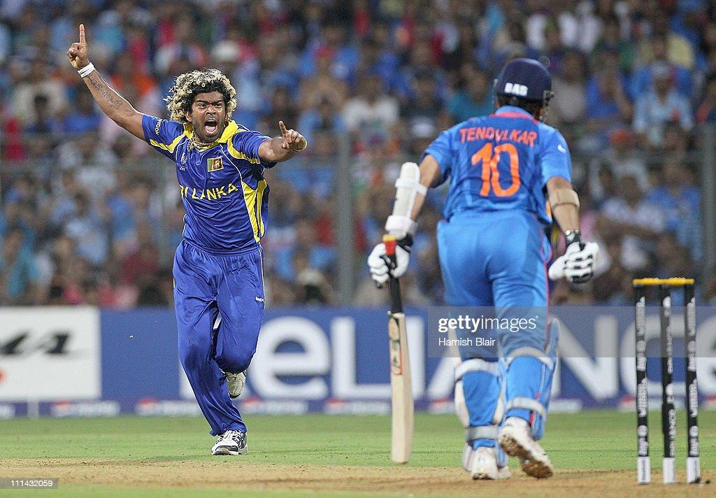 Lasith Malinga of Sri Lanka celebrates the wicket of Sachin Tendulkar of India during the 2011 ICC World Cup Final between India and Sri Lanka at Wankhede Stadium on April 2, 2011 in Mumbai, India.