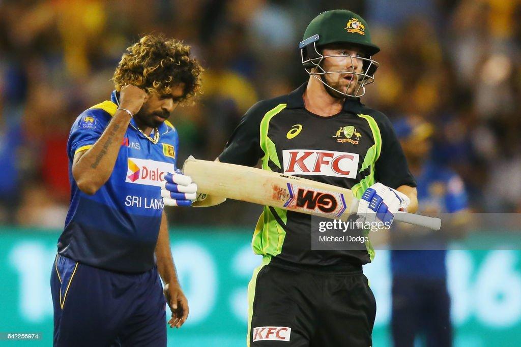 Lasith Malinga of Sri Lanka celebrates the wicket of Travis Head of Australia during the first International Twenty20 match between Australia and Sri Lanka at Melbourne Cricket Ground on February 17, 2017 in Melbourne, Australia.