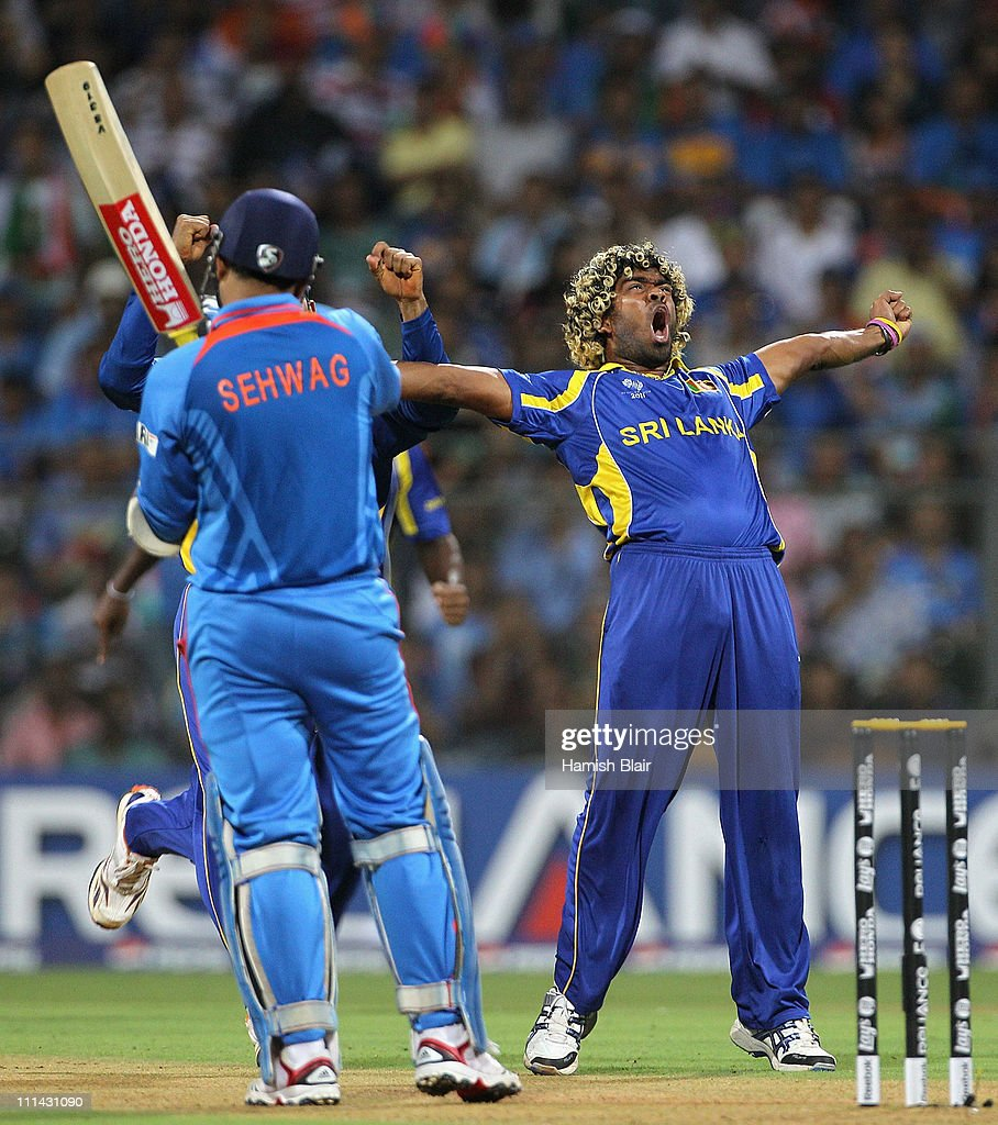 Lasith Malinga of Sri Lanka celebrates the wicket of Virender Sehwag of India during the 2011 ICC World Cup Final between India and Sri Lanka at Wankhede Stadium on April 2, 2011 in Mumbai, India.