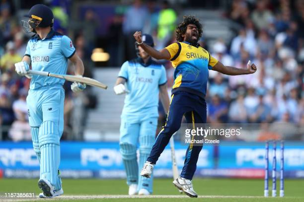 Lasith Malinga of Sri Lanka celebrates trapping Jos Buttler of England lbw during the Group Stage match of the ICC Cricket World Cup 2019 between...