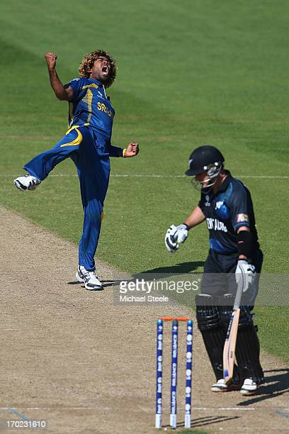 Lasith Malinga of Sri Lanka celebrates trapping Nathan McCullum of New Zealand lbw during the Group A ICC Champions Trophy match between Sri Lanka...