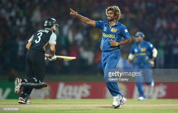 Lasith Malinga of Sri Lanka celebrates winning the super over and beating New Zealand during the ICC World Twenty20 2012 Super Eights Group 1 match...