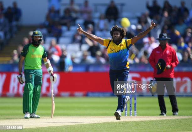 Lasith Malinga of Sri Lanka celebrtaes dismissing Quinton de Kock of South Africa during the Group Stage match of the ICC Cricket World Cup 2019...