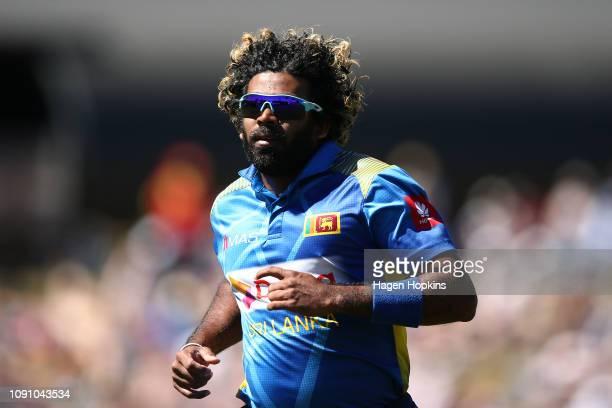 Lasith Malinga of Sri Lanka fields the ball during game three of the One Day International match between New Zealand and Sri Lanka at Saxton Field on...