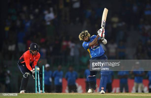 Lasith Malinga of Sri Lanka is bowled by Joe Denly of England during the International Twenty20 match between Sri Lanka and England at R Premadasa...