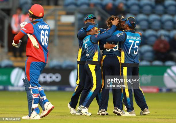 Lasith Malinga of Sri Lanka is mobbed by team mates after bowling Hamid Hassan to win the match during the Group Stage match of the ICC Cricket World...