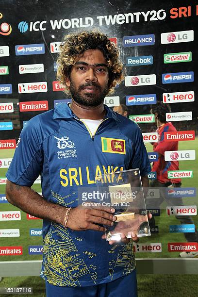 Lasith Malinga of Sri Lanka, Man of the match for the Super Eights Group 1 match between England and Sri Lanka at Pallekele Cricket Stadium on...