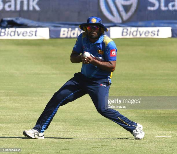 Lasith Malinga of Sri Lanka takes the catch for the wicket of Aiden Markram of the Proteas during the 3rd KFC T20 International match between South...