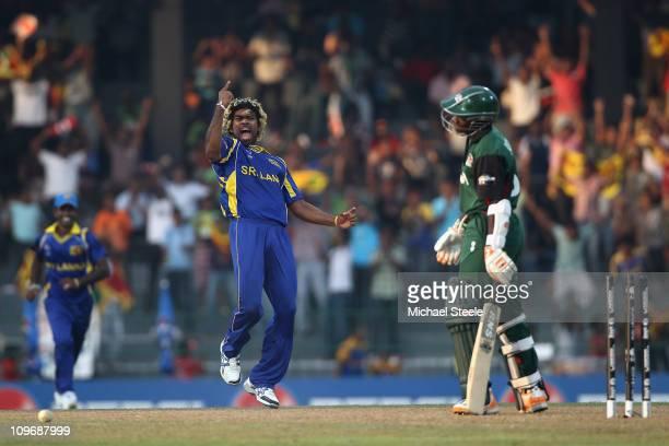 Lasith Malinga of Sri Lankla celebrates bowling Shem Ngoche during the Kenya v Sri Lanka 2011 ICC World Cup Group A match at the R Premadasa Stadium...