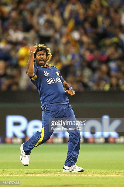 Lasith Malinga of Sril Lanka celebrates after taking the wicket of Taskin Ahmed of Bangladesh during the 2015 ICC Cricket World Cup match between Sri...