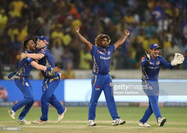 Lasith Malinga of the Mumbai Indians celebrates taking the last wicket to give the Mumbai Indians the win during the Indian Premier League Final...