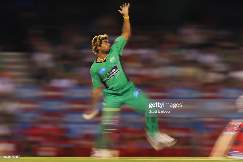 Lasith Malinga of the Stars bowls during the Big Bash League match between the Melbourne Renegades and the Melbourne Stars at Etihad Stadium on December 7, 2012 in Melbourne, Australia.
