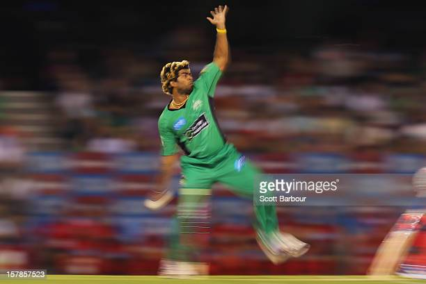Lasith Malinga of the Stars bowls during the Big Bash League match between the Melbourne Renegades and the Melbourne Stars at Etihad Stadium on...