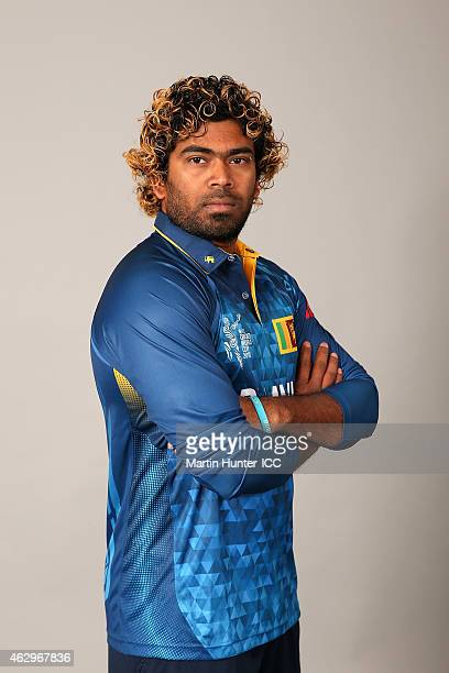 Lasith Malinga poses during the Sri Lanka 2015 ICC Cricket World Cup Headshots Session at the Rydges Latimer on February 8 2015 in Christchurch New...