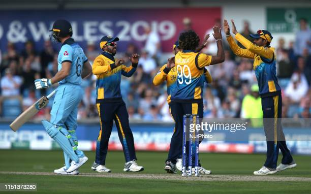 Lasith Malinga successfully appeals for LBW against Joss Buttler during the ICC Cricket World Cup 2019 match between England and Sri Lanka at Emerald...