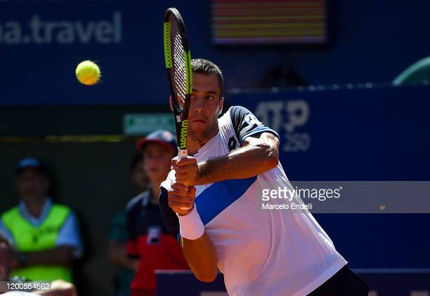 Laslo Djere of Serbia hits a backhand during his Men's Singles match against Juan Ignacio Londero of Argentina during day 4 of ATP Buenos Aires...