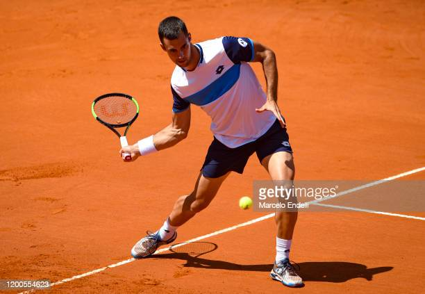 Laslo Djere of Serbia hits a forehand during his Men's Singles match against Juan Ignacio Londero of Argentina during day 4 of ATP Buenos Aires...