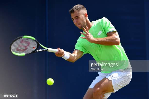 Laslo Djere of Serbia in actino agianst Thomas Fabbiano of Italy during day 3 of the Nature Valley International at Devonshire Park on June 26, 2019...