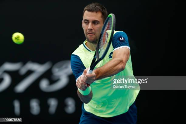Laslo Djere of Serbia plays a backhand shot in his match against Kamil Majchrzak of Poland during day one of the ATP 250 Great Ocean Road Open at...
