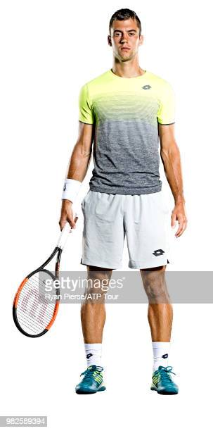 Laslo Djere of Serbia poses for portraits during the Australian Open at Melbourne Park on January 12, 2018 in Melbourne, Australia.