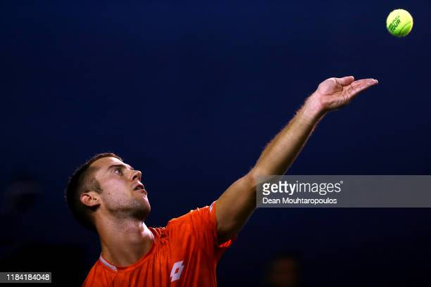 Laslo Djere of Serbia serves against Alex de Minaur of Australia on day 2 of the Rolex Paris Masters, part of the ATP World Tour Masters 1000 held at...