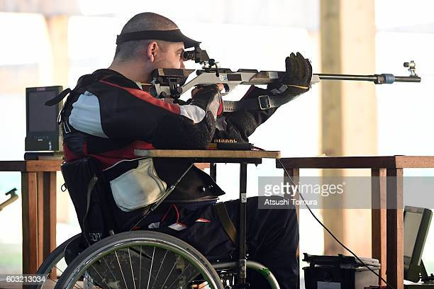 Laslo Suranji of Serbia competes in the men's 50m rifle 3 positions SH1 on day 5 of the Rio 2016 Paralympic Games at Olympic shooting centre on...