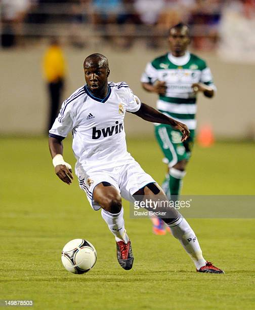 Lass Diarra of Real Madrid CF controls the ball during the World Football Challenge match against Club Santos Laguna at Sam Boyd Stadium on August 5,...