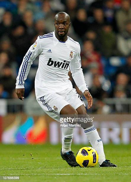 Lass Diarra of Real Madrid in action during the La Liga match between Real Madrid and Sevilla at Estadio Santiago Bernabeu on December 19 2010 in...