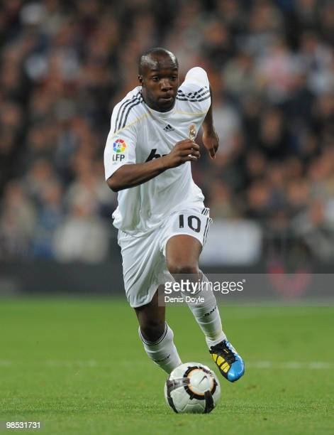 Lass Diarra of Real Madrid in action during the La Liga match between Real Madrid and Valencia at Estadio Santiago Bernabeu on April 18 2010 in...