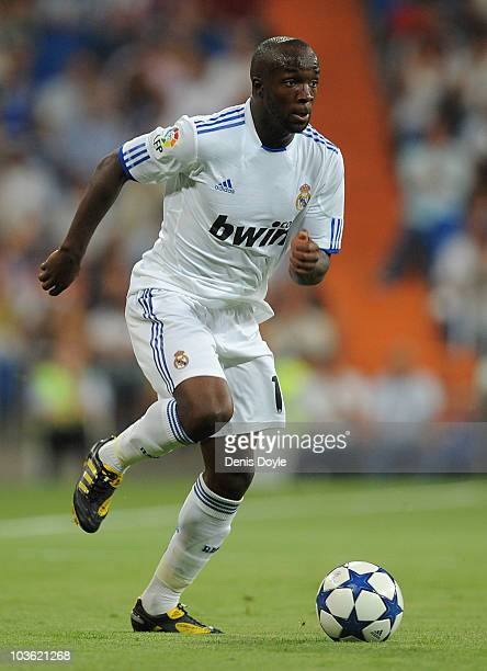 Lass Diarra of Real Madrid in action during the Santiago Bernabeu Trophy match between Real Madrid and Penarol at the Santiago Bernabeu stadium on...