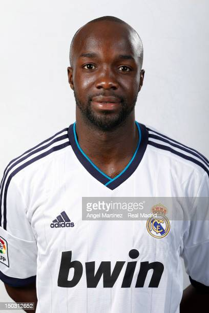 Lass Diarra of Real Madrid poses during a portrait session at Valdebebas training ground on July 25 2012 in Madrid Spain