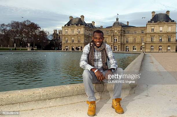 Lassana Bathily the malian hero who saved many people during the terrorist attacks by Amedy Coulibaly at the Hyper Cacher shop poses in Paris in the...