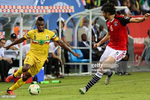 Lassana Coulibaly of Mali in action against Ahmed Hegazy of Egypt during the 2017 Africa Cup of Nations group D football match between Mali and Egypt...