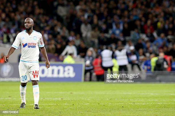 Lassana Diarra for Olympique de Marseille during the French Ligue 1 game between Toulouse FC and Olympique de Marseille at Stadium Municipal on...