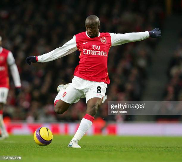 Lassana Diarra of Arsenal in action during the Barclays Premier League match between Arsenal and Wigan Athletic at the Emirates Stadium in London,...