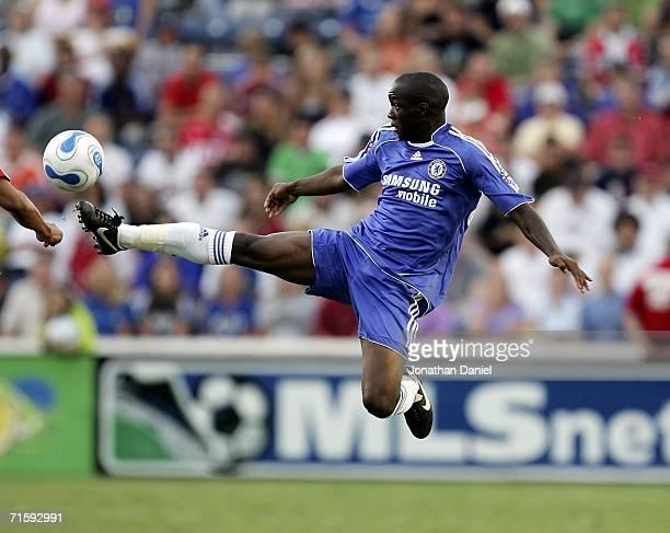 Lassana Diarra of Chelsea FC leaps in the air to kick the ball against the MLS AllStars on August 5 2006 during the Sierra Mist MLS AllStar friendly...