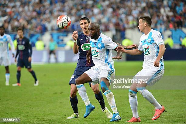 Lassana Diarra of Marseille and Angel Di Maria of PSG during the French Cup Final between Paris Saint Germain and Marseille at Stade de France on May...