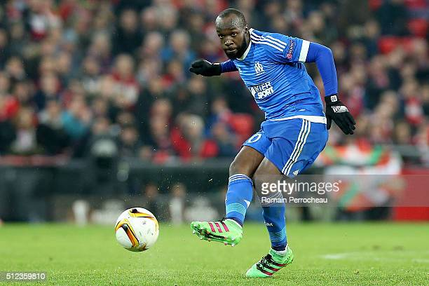 Lassana Diarra of Marseille in action during the UEFA Europa League Football round of 32 second leg match between Athletic Bilbao and Olympique de...