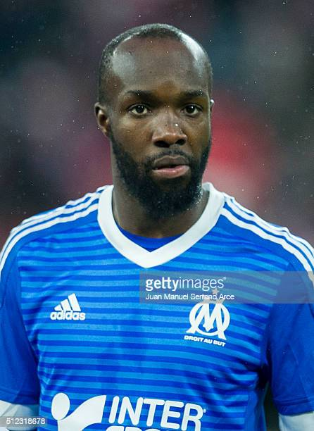 Lassana Diarra of Marseille looks on prior to the start the UEFA Europa League Round of 32 Second Leg match between Athletic Club and Marseille at...