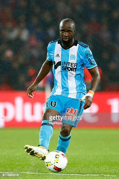 Lassana Diarra of Olympique de Marseille in action during the French Ligue 1 match between Paris SaintGermain and Olympique de Marseille at Parc des...