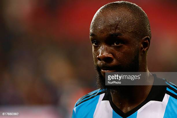 Lassana Diarra of Olympique de Marseille reacts during the French Ligue 1 match between Paris SaintGermain and Olympique de Marseille at Parc des...
