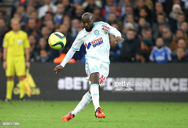 Lassana Diarra of OM in action during the French Ligue 1 match between Olympique de Marseille and Paris SaintGermain at New Stade Velodrome on...