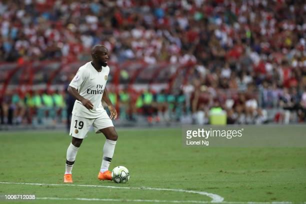 Lassana Diarra of Paris Saint Germain controls the ball during the International Champions Cup match between Arsenal and Paris Saint Germain at the...