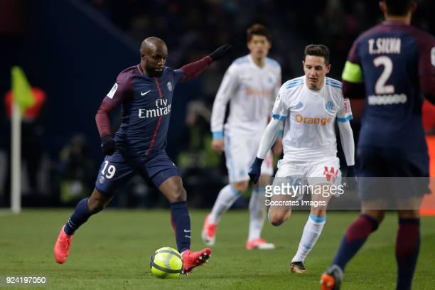 Lassana Diarra of Paris Saint Germain, Florian Thauvin of Olympique Marseille during the French League 1 match between Paris Saint Germain v...