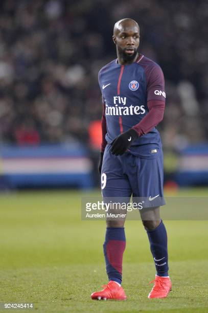 Lassana Diarra of Paris SaintGermain reacts during the Ligue 1 match between Paris Saint Germain and Olympique Marseille February 25 2018 in Paris...