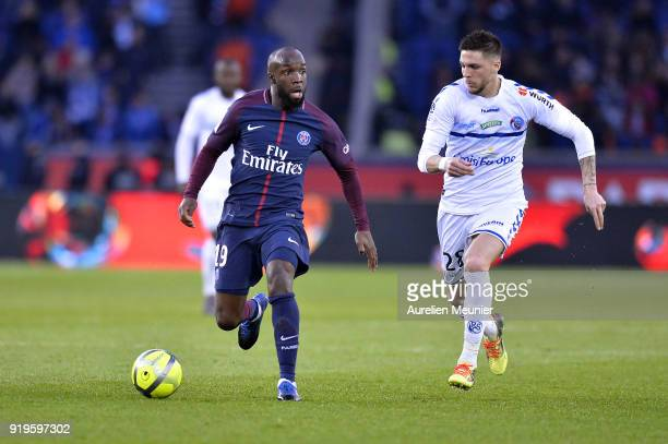 Lassana Diarra of Paris SaintGermain runs with the ball during the Ligue 1 match between Paris saintGermain and Strasbourg at Parc des Princes on...