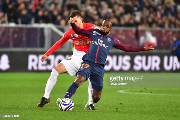 Lassana Diarra of PSG and Stevan Jovetic of Monaco during the Final of the French League Cup between Paris Saint Germain and AS Monaco on March 31...